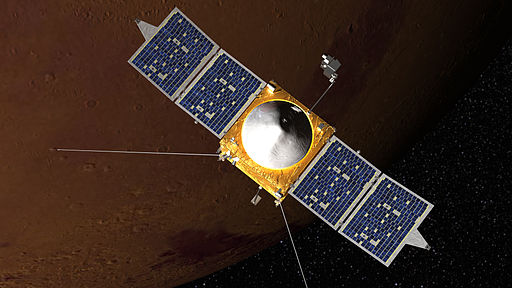 An artist's rendering of the MAVEN vehicle. Image by NASA's Goddard Space Flight Center (Public Domain)