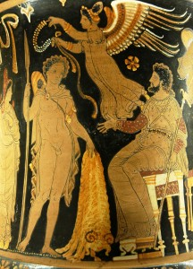 Jason bringing Pelias the Golden Fleece. Marie-Lan Nguyen, 2006 (Public Domain)