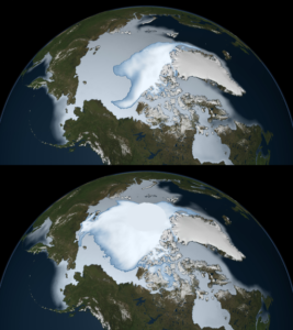 The image shows sea ice coverage in 1980 (bottom) and 2012 (top), as observed by passive microwave sensors on NASA's Nimbus-7 satellite and by the Special Sensor Microwave Imager/Sounder (SSMIS) from the Defense Meteorological Satellite Program (DMSP). Multi-year ice is shown in bright white, while average sea ice cover is shown in light blue to milky white. The data shows the ice cover for the period of November 1 through January 31 in their respective years.
