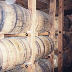 Whiskey barrels in the Jack Daniels distillery, Lynchburg, Tennessee.