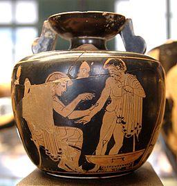 By English: Clinic Painter (eponymous vase)Français : Peintre de la Clinique (vase éponyme) (User:Bibi Saint-Pol, own work, 2007-07-21) [Public domain], via Wikimedia Commons